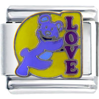 Italian Charms - purple love bear italian charms Image.