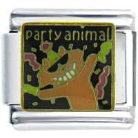 Italian Charms - party animal cat italian charms Image.