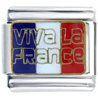 Italian Charms - golden italian charm bracelet viva la france flag Image.
