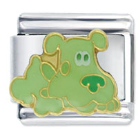 Italian Charms - blues clues green puppy animal charm italian licensed italian charm Image.