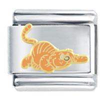 Italian Charms - enamel heathcliff cat pounce gift 9 mm italian charm golden tone licensed italian charm Image.