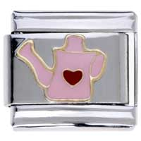 Italian Charms - hobbies theme pink watering kettle 9 mm italian charm for bracelets Image.