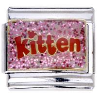 Italian Charms - pink kitten letter 9 mm italian charm for bracelets Image.