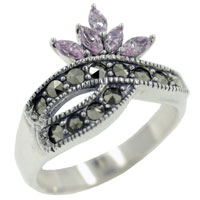Sterling Silver Jewelry - size 7  marquise pink cz marcasite sterling silver gift ring jewelry fashion Image.