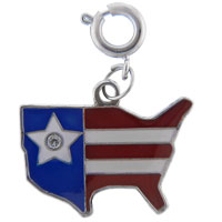 Italian Charms - dangle usa flag map photo italian charms Image.