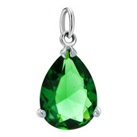 Sterling Silver Jewelry - white plated peridot green drop clasp dangle european beads fit all brands Image.