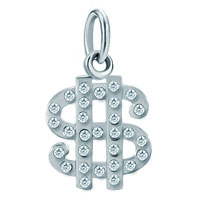 Sterling Silver Jewelry - white plated clear dollar clasp link for necklace dangle european beads fit all brands Image.