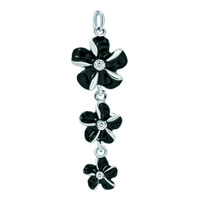 Sterling Silver Jewelry - white plated black clover flower clasp link for pendant necklace dangle european beads fit all brands Image.