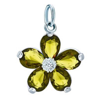 Charms Beads - white plated peridot green diamond accent butterfly clasp dangle european beads fit all brands Image.