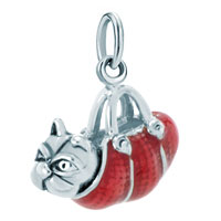 Sterling Silver Jewelry - white plated bulldog animal in garnet red bag link for necklace dangle european beads fit all brands Image.