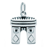 Sterling Silver Jewelry - white plated paris triumphal arch clasp dangle european beads fit all brands Image.