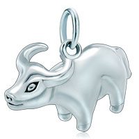 Sterling Silver Jewelry - white plated vivid taurus horoscope zodiac sign clasp fit all brands dangle european beads Image.