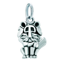 Sterling Silver Jewelry - white plated mighty lion animal clasp link for pendant necklace dangle european beads fit all brands Image.