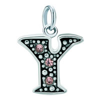 Sterling Silver Jewelry - white plated rose pink diamond accent letter initial y link alphabet for &  pendant necklace dangle european beads fit all brands Image.