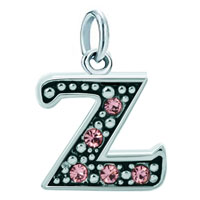 Sterling Silver Jewelry - white plated rose pink diamond accent letter initial z link alphabet for &  pendant necklace dangle european beads fit all brands Image.