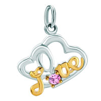 Charms Beads - rose pink birthstone love open heart in for dangle european beads fit all brands Image.