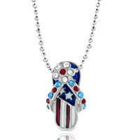 Necklace & Pendants - patriotic beach sandal flag multicolor crystal pendant without chain Image.