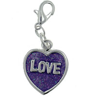 Teens & Kids Jewelry - purple love heart link dangle european beads fit all brands Image.