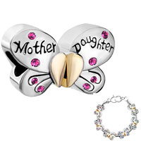 Charms Beads - mother daughter charms separable butterfly pink crystal heart mom Image.