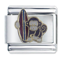 Italian Charms - monkey beach surfer spring italian charms Image.