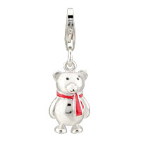 Teens & Kids Jewelry - bear with red scarf sterling silver clasp charm Image.