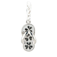 Teens & Kids Jewelry - april birthstone slipper with black flower pattern sterling silver clasp charm Image.