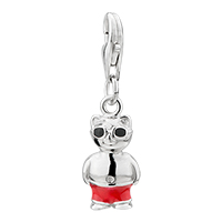 Sterling Silver Jewelry - amore lavitatm cat black glasses sterling clasp dangle european beads fit all brands Image.