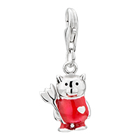 Sterling Silver Jewelry - 925  sterling amore lavita cute garnet red dress lobster clasp pendant dangle european beads fit all brands Image.