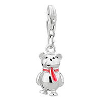Sterling Silver Jewelry - amore lavitatm red scarf teddy bear heart forever love sterling clasp dangle european beads fit all brands Image.