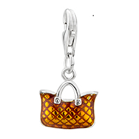 Charms Beads - 925  sterling sliver yellow fashion bag lobster clasp pendant dangle european beads fit all brands Image.