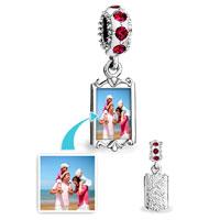 Custom Jewelry - CUSTOM DANGLE RECTANGLE PHOTO FRAME LINK ITALIAN BEADS CHARMS BRACELETS alternate image 1.