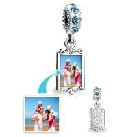 Custom Jewelry - MARCH BIRTHSTONE AQUAMARINE CRYSTAL ROUND DANGLE CUSTOM PHOTO FRAME BEADS CHARMS BRACELETS alternate image 1.