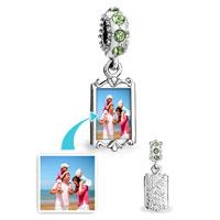 Custom Jewelry - AUGUST BIRTHSTONE PERIDOT CRYSTAL ROUND DANGLE CUSTOM PHOTO FRAME BEADS CHARMS BRACELETS alternate image 1.