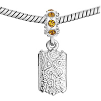 Custom Jewelry - NOVEMBER BIRTHSTONE CITRINE TOPAZ CRYSTAL ROUND DANGLE CUSTOM PHOTO FRAME BEADS CHARMS BRACELETS alternate image 2.