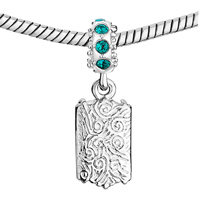 Custom Jewelry - DECEMBER BIRTHSTONE BLUE CRYSTAL ROUND DANGLE CUSTOM PHOTO FRAME BEADS CHARMS BRACELETS alternate image 2.