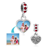 Custom Jewelry - LIGHT RED CRYSTAL DANGLE HEART PHOTO CUSTOM LOVE LINK FRAME BEADS CHARMS BRACELETS alternate image 1.