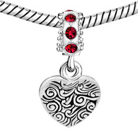Custom Jewelry - LIGHT RED CRYSTAL DANGLE HEART PHOTO CUSTOM LOVE LINK FRAME BEADS CHARMS BRACELETS alternate image 2.