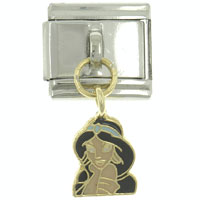 Italian Charms - hot enamel dangle charming lady 9 mm italian charm stainless steel licensed italian charm Image.