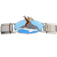 Italian Charms - curious george snorkeling dolphin deluxe italian charms licensed italian charm Image.