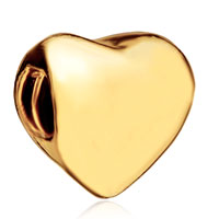 Charms Beads - 22k golden heart charm bracelet european bead gifts for mother Image.