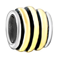 Charms Beads - striped circle animal black fit two tone plated beads charms bracelets all brands Image.