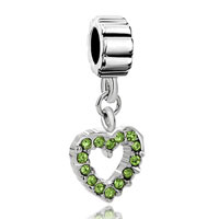 Charms Beads - august peridot color births opean heart charm bracelet spacer dangle Image.