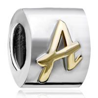 Charms Beads - letter initial a alphabet two tone plated beads charms bracelets fit all brands Image.