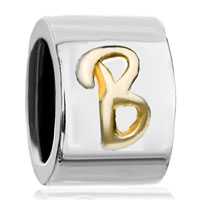 Charms Beads - cylindrical shaped letter initial b alphabet two tone plated beads charms bracelets fit all brands Image.