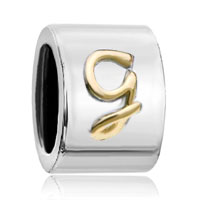 Charms Beads - cylindrical shaped letter initial g alphabet two tone plated beads charms bracelets fit all brands Image.