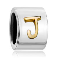 Charms Beads - silver plated letter bracelet charm initial j alphabet european bead Image.
