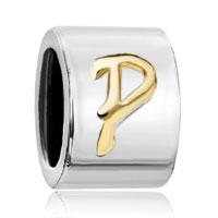 Charms Beads - silver letter bracelet charm initial p charm alphabet european bead Image.