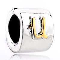 Charms Beads - gold plated letter initial alphabet fit all brands gold beads charms bracelets Image.