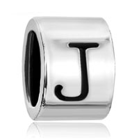 Charms Beads - cylindrical shaped letter initial j alphabet beads charms bracelets fit all brands Image.