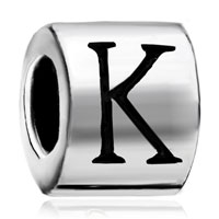 Charms Beads - cylindrical shaped letter bracelet charm initial k charm alphabet bead Image.